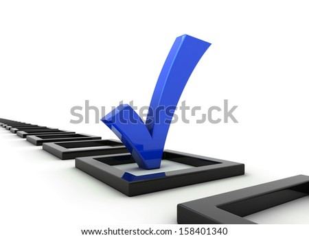 blue checkmark - stock photo