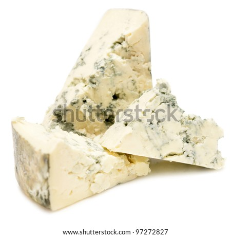 blue cheese isolated on white - stock photo