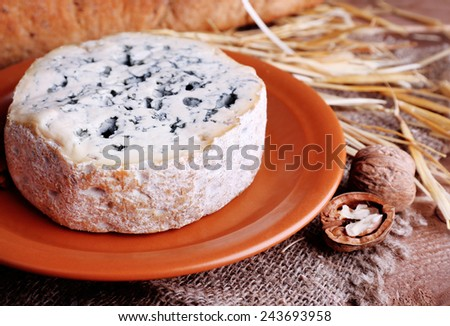 Blue cheese on earthenware dish with nuts, baguette and hay on burlap cloth and wooden table background - stock photo