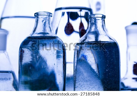 Blue chemistry vials - stock photo