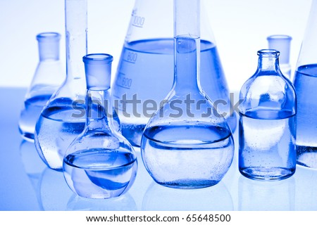 Blue chemistry vials, Sterile conditions, Laboratory