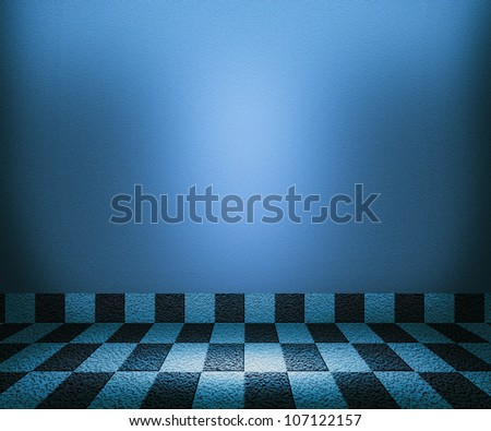 Blue Chessboard Mosaic Room Background