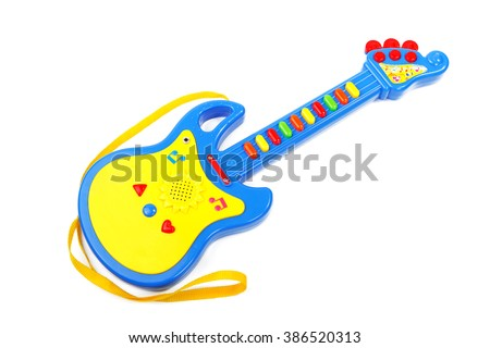 Blue Childrens Guitar Isolated On White Background