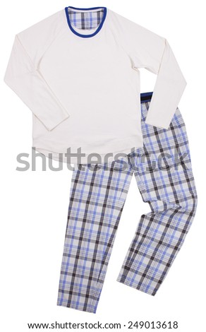 Blue children's pajamas. Isolated on a white background - stock photo