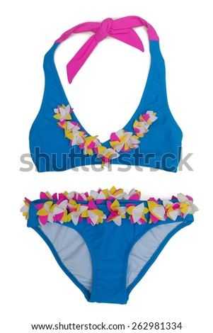 Blue children's swimsuit with colored patches. Isolate on white. - stock photo