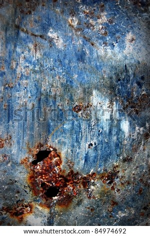 blue chipped paint , rusty textured metal background - stock photo