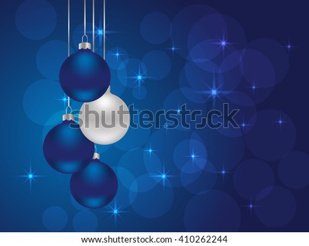 blue Christmas background with Christmas balls.