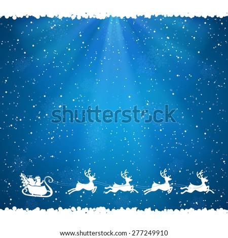 Blue Christmas background with Santa and falling snow, illustration. - stock photo