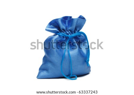 blue christmas bag with present on the white background