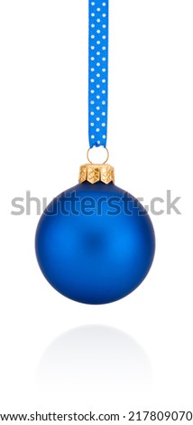 Blue Christmas ball hanging on ribbon Isolated on white background - stock photo