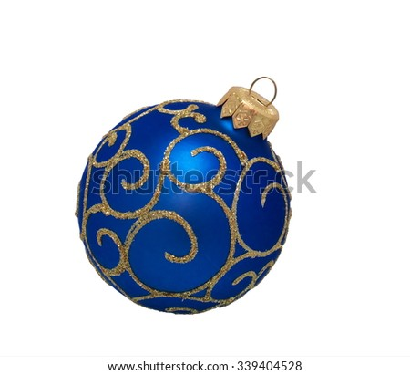 blue christmas ball, isolated on white background - stock photo