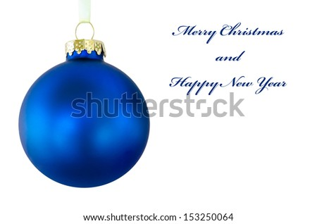Blue Christmas ball on the white background