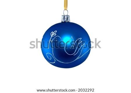Blue christmas ball on white - stock photo