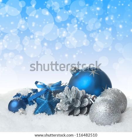 Blue christmas balls - stock photo