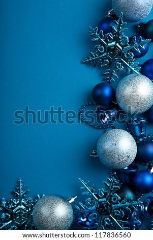 blue christmas balls border - stock photo