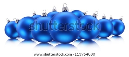 Blue Christmas balls isolated on a white background. - stock photo