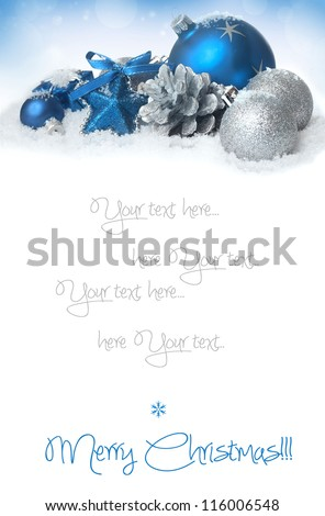 Blue christmas balls on the snow - stock photo