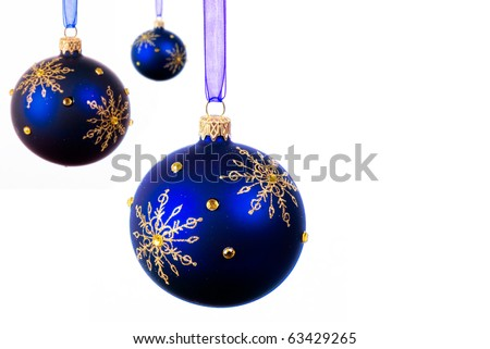 Blue Christmas balls over white background - isolated - stock photo