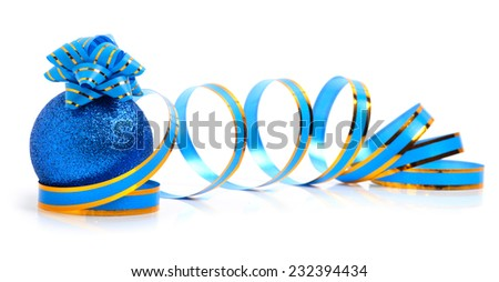 Blue christmas  bauble with a blue bow and  a ribbon isolated on white - stock photo