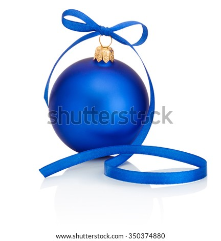 Blue Christmas bauble with ribbon bow Isolated on white background - stock photo