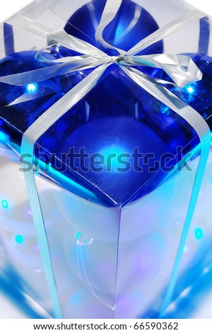 Blue Christmas baubles in a gift box - stock photo