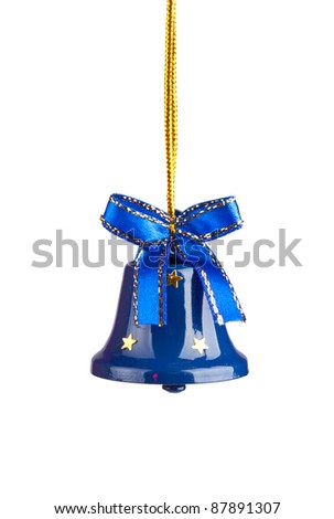 Blue Christmas Bells isolated on white - stock photo