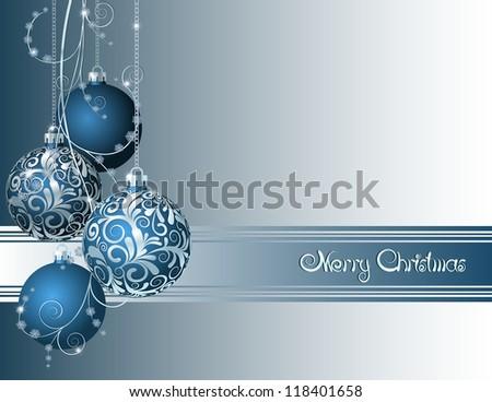 Blue Christmas card with Christmas balls and snowflakes - stock photo