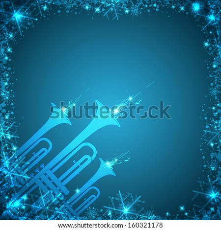 Blue Christmas card with trumpets and snowflakes - stock photo