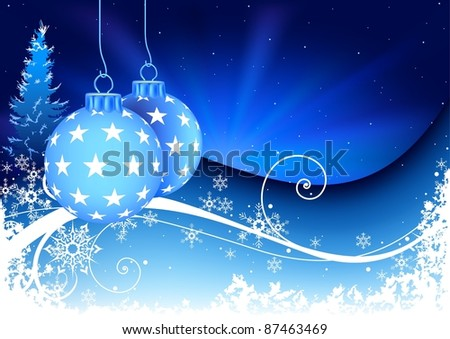 Blue Christmas Composition - stock photo