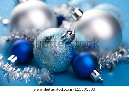 blue christmas decoration - stock photo