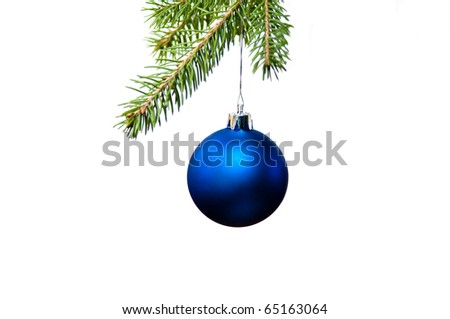 Blue christmas decoration on the fir tree - stock photo
