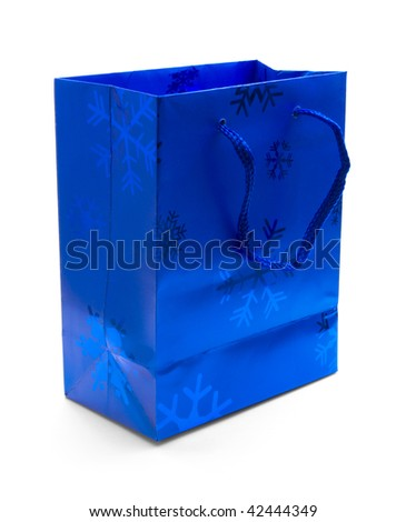 Blue Christmas gift bag isolated on white