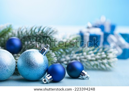 blue christmas gifts and decoration  - stock photo