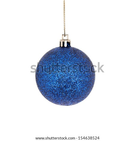 Blue Christmas glitter bauble isolated against white - stock photo
