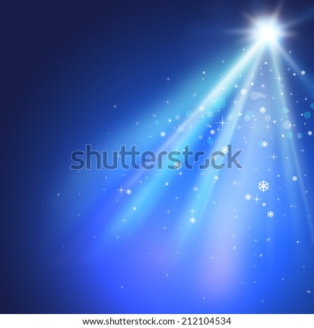 Blue christmas lights background with stars and snowflakes.