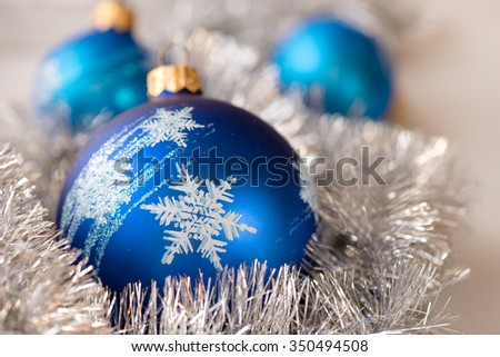 Blue Christmas ornament ball, and fir decoration