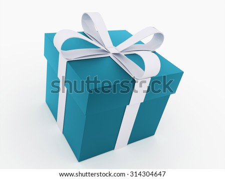 Blue christmas present with ribbon rendered
