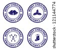 Blue christmas rubber stamps. Vector available. - stock photo