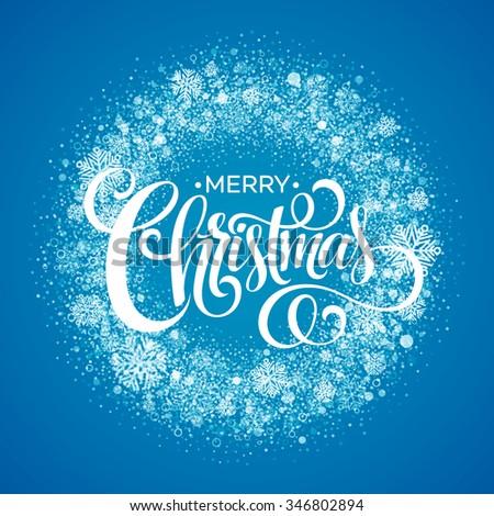Blue Christmas Snowflake Wreath. illustration  - stock photo