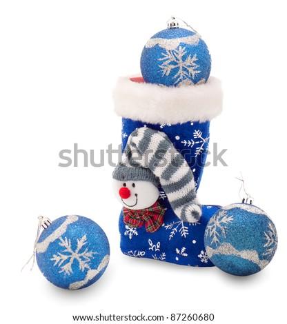 Blue Christmas stocking  and three Christmas balls - stock photo