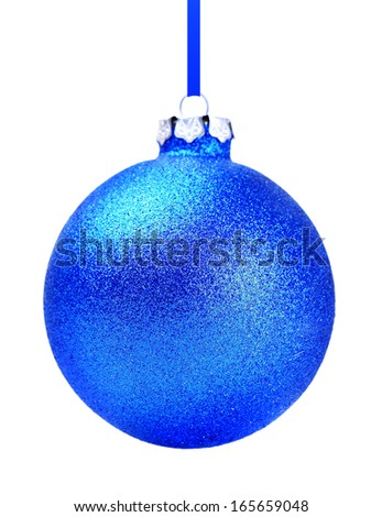 Blue Christmas toy ball, isolated on white background - stock photo