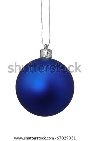 Blue Christmas toy, isolated on white background - stock photo