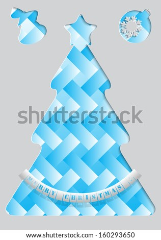 Blue Christmas tree made ??of paper