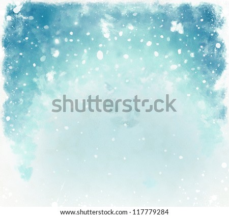 Blue christmas watercolor background with snowflakes - stock photo