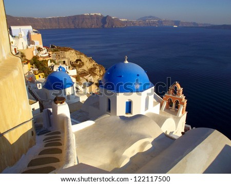 Blue church domes in Oia, Santorini, Greece
