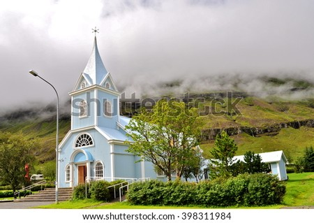 Blue church, Iceland - stock photo