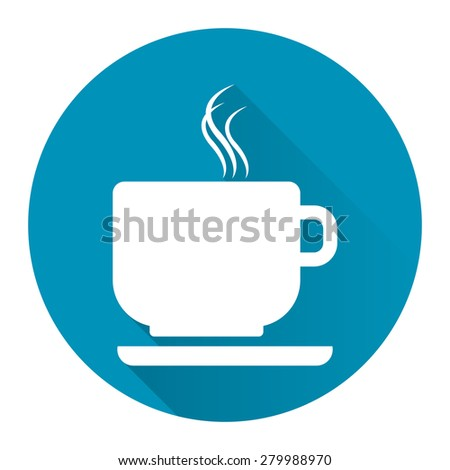 Blue Circle Coffee Cup or Coffee Shop Long Shadow Style Icon, Label, Sticker, Sign or Banner Isolated on White Background - stock photo