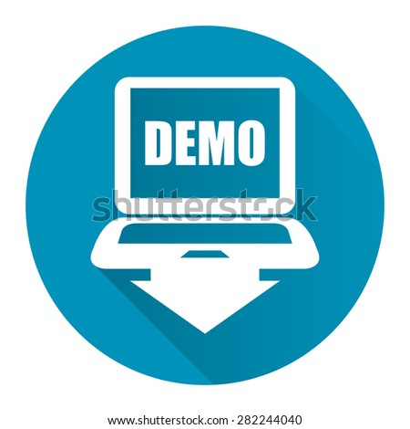 Blue Circle Computer Laptop With Demo Text on Screen Monitor Flat Long Shadow Style Icon, Label, Sticker, Sign or Banner Isolated on White Background - stock photo