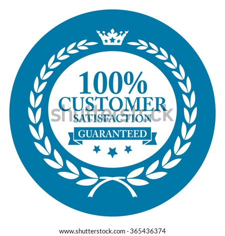 Blue Circle 100% Customer Satisfaction Guaranteed, Campaign Promotion, Product Label, Infographics Flat Icon, Sign, Sticker Isolated on White Background  - stock photo