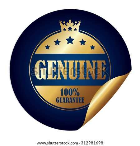 Blue Circle Genuine 100% Guarantee Infographics Peeling Sticker, Label, Icon, Sign or Badge Isolated on White Background - stock photo